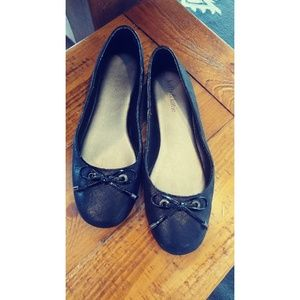 Kelly & Katie Black Bow Flats